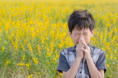 アジアの小さな男の子は花の花粉からアレルギー