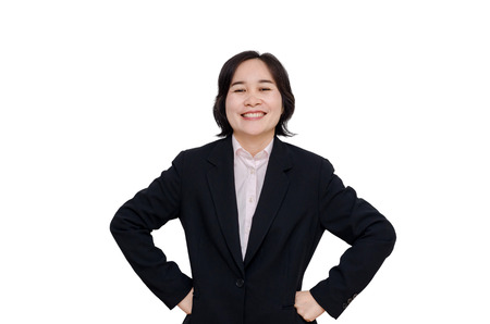 confident business woman: Middle aged asian woman smiles over white background