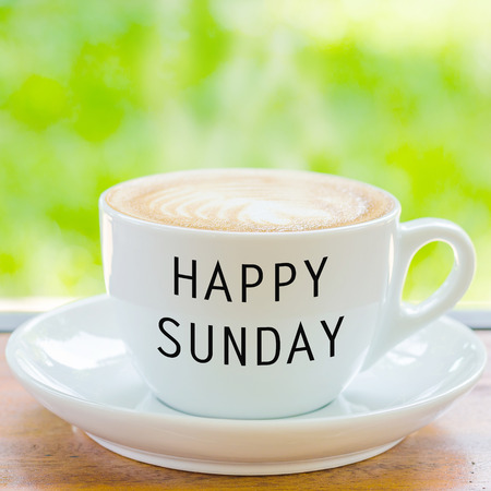 sunday: Happy Sunday on coffee cup