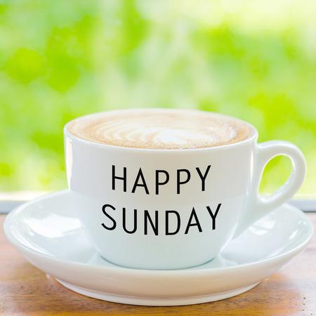 sunday: Happy Sunday on coffee cup