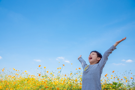happy boy in flower field