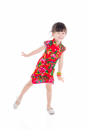 Little chinese girl over white background