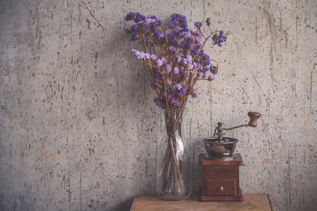 Dry flower with coffee beans grinder