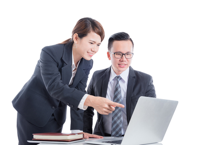 Asian business people over white background Stock Photo