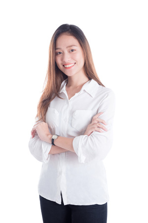 Pretty woman smiling over white background