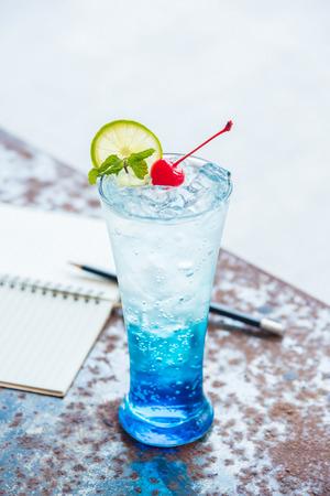 Blue italian soda on table