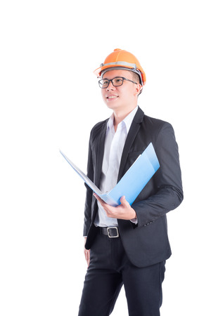 Engineer man standing over white background