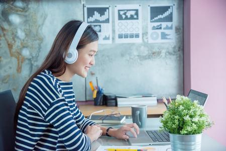Beautiful asian woman working at office Stock Photo