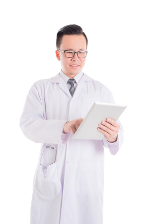 Asian doctor over white background