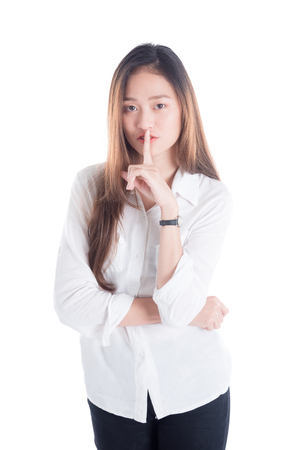 Beautiful asian woman over white background Stock Photo