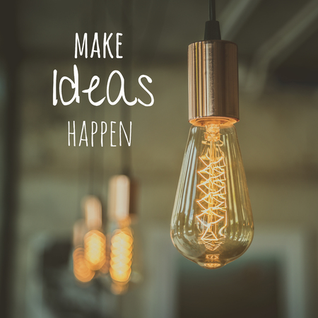 Light bulb with quote Foto de archivo