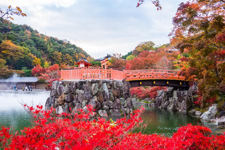 Osaka,Japan-November 12,2017: Katsuoji temple with red leaves in Osaka, Japan .