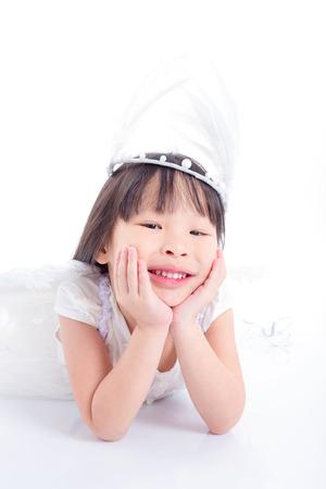 Little asian girl smiling on the floor Stock Photo