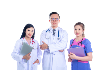 Three Asian doctor and nurse, meadical team smiling at camera over white background