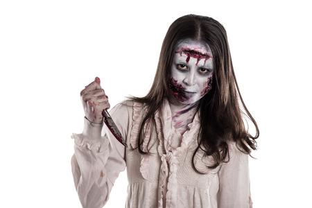 Asian female zombie holding knife isolated over white background