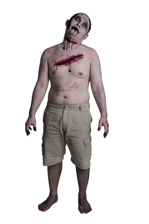Male zombie standing over white background