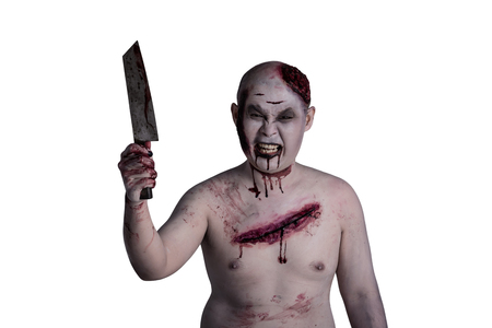 Male zombie holding knife over white background