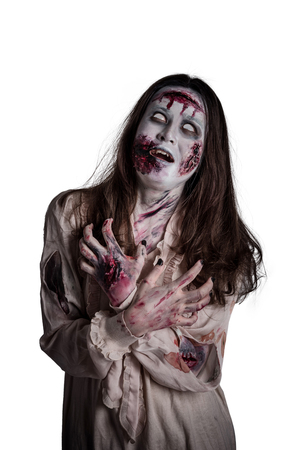 Asian female zombie isolated over white background