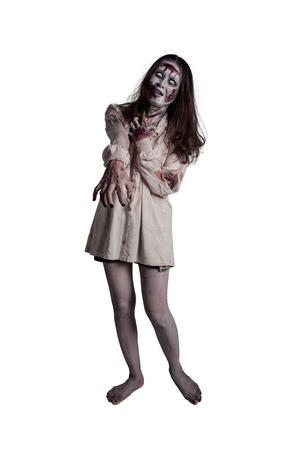 Full length of asian female zombie isolated over white background