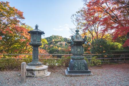 Osaka,Japan-November 12,2017: Katsuoji temple with red leaves in Osaka, Japan Editorial