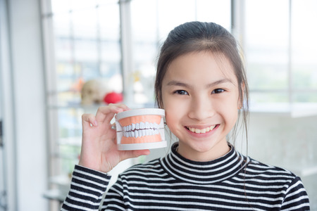 Young asian girl holding teeth model and smiles
