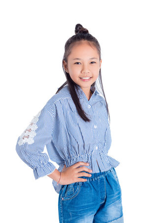 Cute teenager asian girl smiling over white background Stok Fotoğraf