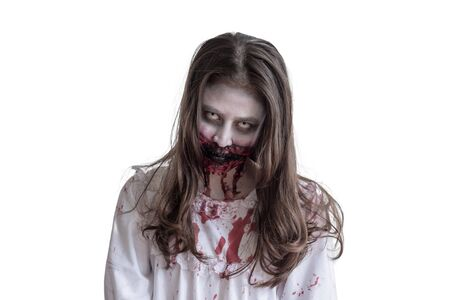 Scary asian female zombie isolated over white background