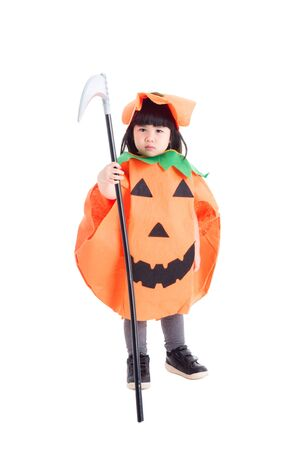 Little asian girl wearing pumpkin costume for halloween celebration standing over white background