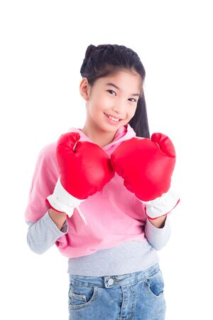 Beautiful asian girl wearing red boxing gloves isolated on white background, exercise and healthy concept