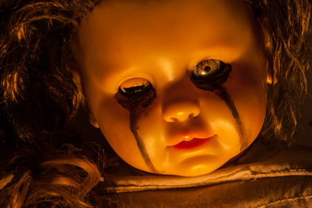 facial features: Close up of scary doll Stock Photo