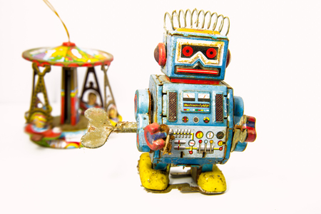 old rusty on robot toy