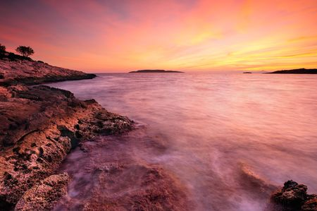A dreamy postcard like sunset in mediterranean sea photo