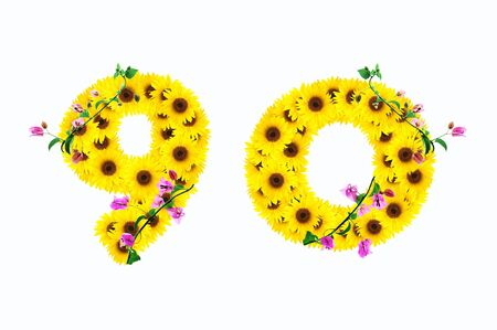 sunflower numbers 9 0 isolated on white background  photo