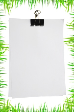 Black clip and white blank note paper with green grass photo