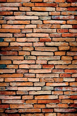 old brick wall orange colored for background photo
