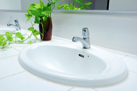 Handbasin and vase in toilet Stock Photo