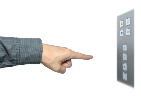 lift hands: mano de empresario para el bot�n de ascensor