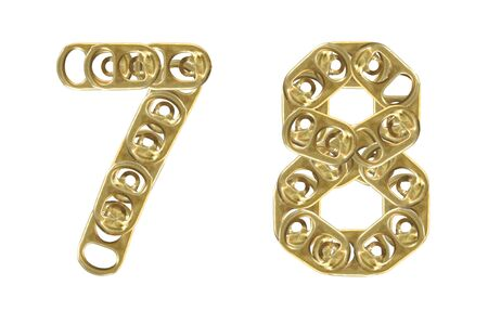 ring pull of cans numbers 7 8 isolated on white background  photo