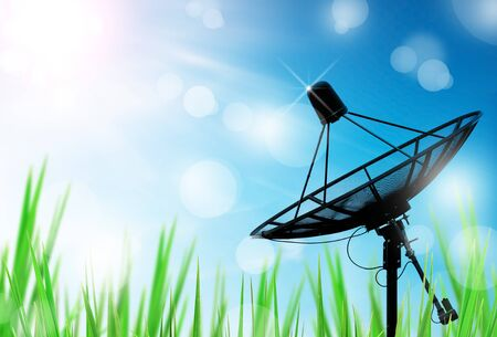satellite dish antennas in field under sky and light reflect in morning Stock Photo - 9080030