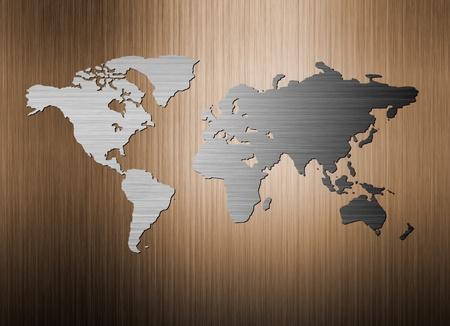wall maps: Mapamundi de metal en el fondo de metal
