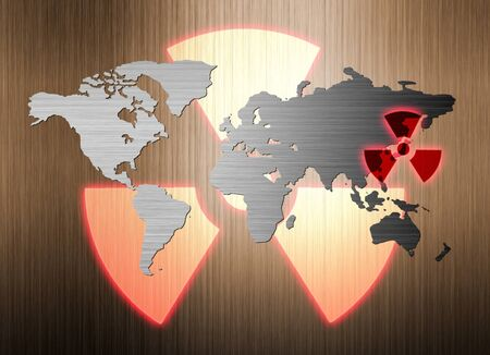 metal world map and nuclear radiation leak photo