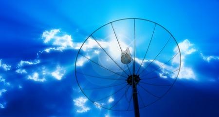 airwaves: satellite dish antennas under sky Stock Photo