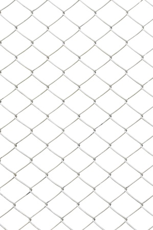 link fence: chain link fence isolated on white background Stock Photo