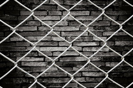 Chain link fence see grunge wall background photo