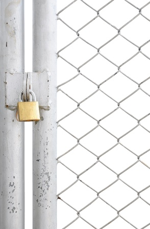 chain fence: chain link fence and metal door with lock isolated on white background Stock Photo