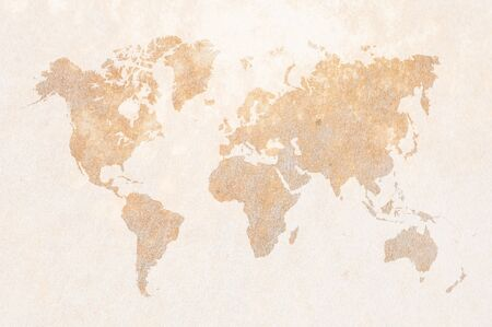 wild asia: world map on leather Stock Photo