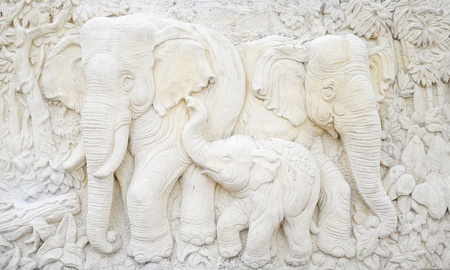 elephant sculpture is made of a stone. Sculptures in the temple. photo