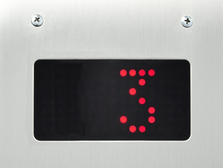number button: monitor show number 3 floor in elevator