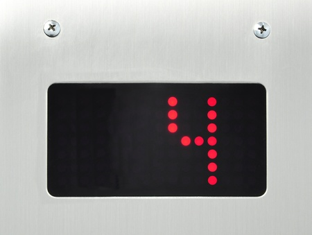 number button: monitor show number 4 floor in elevator