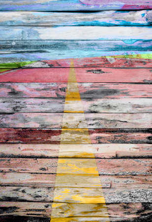 abstract the road on wood background grunge style Stock Photo - 9485997